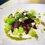 Merlot Poached Pear and Gorgonzola Salad