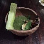very interesting dish, fried mushroom and chlorophyll