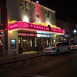 The Franklin Theatre all lit up in Neon at night!
