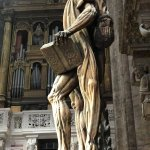 The statue of a flayed St. Bartholomew wearing his skin.