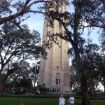 Bok Tower with choir entering stage for Christmas concert.
