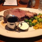 Prime Rib with Horseradish Sauce, Juice, and Roasted Vegetables