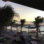terrace on the beach and beach chairs