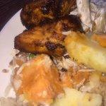 jerk chicken, sweet potato & salad
