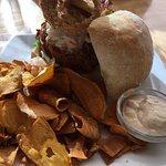 Jackfruit Sandwich and sweet potatoes