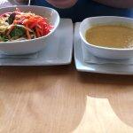 Noodles platter and corn/peas soup