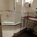Deep soaking tub, goid counter space, heated floor, lighted magnifying mirror, Swarovski crystal