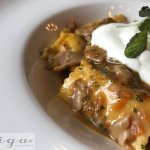 Agnolotti: Roasted chicken-filled ravioli ~ Porcini ragú ~ whipped mozzarella cloud