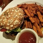 Zinc Burger with Mango Ketchup and Sweet Potato Fries - the best I've ever had!!!