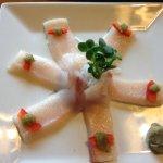 Hamachi belly sashimi with yuzu.