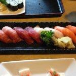 Chu-toro, maguro, hamachi, sake (middle tuna belly, tuna, yellow tail, salmon)