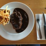 Large eye fillet with mushroom sauce and chips