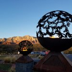 Entry Fire globes set against Sedona's Red Rock mountains