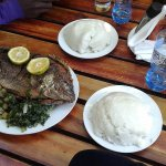 Bream with Nshima- our stab;e food ( Maize Meal)