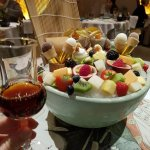 Food platter and Japanese plum wine