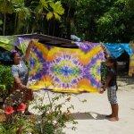 Making tie dyed sarongs
