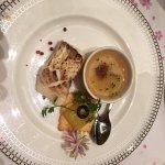 Fish entree with a charawmushi-type dish