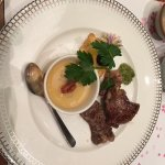Beef entree with charawamushi-type dish