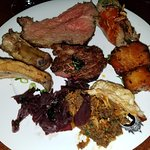 Variety of mixed meats from the hot bar devine duck!