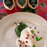 Chile en Nogada. A stuffed grilled poblano pepper. A dish to die for.