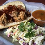 The pulled pork along with the slaw and the beans! Wonderful!!! :)