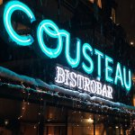 Cousteau's Neon on a snowy night