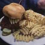 Mac Daddy Burger (Texas style chili, waffle fries, cheddar/pepper jack cheese)