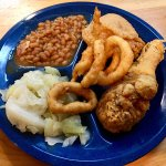Fried Chicken with beans and cabbage