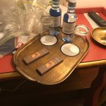 welcome water and chocolates from the hotel