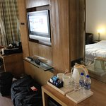 Complimentary tray, TV and desk