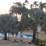 Its not clear int he snap, but beyond those palm trees is sea front