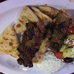 #19 Lamb souvlaki plate with salad