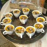 mise en bouche: courge, foie gras graines de courges