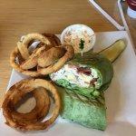 "Fresh Roasted Turkey ""Cobb"" Wrap with Onion rings"