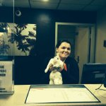 Friendly desk staff, holds my pet rabbit, Narvik....