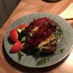 breakfast- eggs, bacon, salad, rye bread