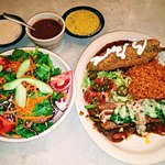 Dinner Salad, Chili Relleno, Rice, Veggie Enchilada, Charro Beans (top center)