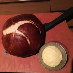Complimentary pretzel bread and butter