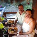 Enjoying Coconut Shrimp and Seared Tuna Steak