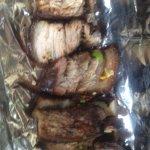 A close-up of the jerk pork