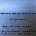Dessert menu