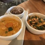 1/2 curry bowl and 1/2 red pepper noodle bowl