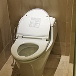 The flush button is covered by the toilet seat cover. Very difficult to access. Toilet bowl chok