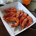 Steamed prawns.