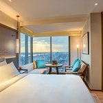 Premier Suite offering stunning views of the city and Yangon River and generous work space