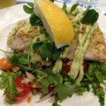 Crusted fish and salad