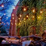 This is the lighting for the outdoor dining area at Volt,. The photo was taken in December 2017,
