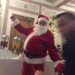 Father Christmas pops into breakfast
