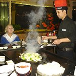 The food is cooked right in front of you