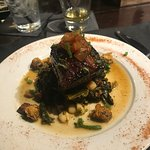 Pork belly with greens and fried okra.